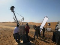 TV troupe in action in the Sahara Desert